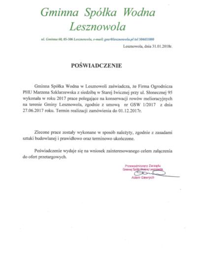 Gminna Spółka Wodna Lesznowola /2018/