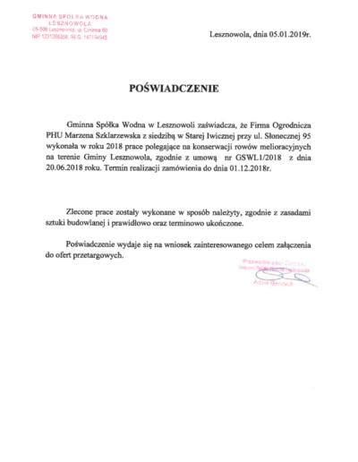 Gminna Spółka Wodna Lesznowola /2019/