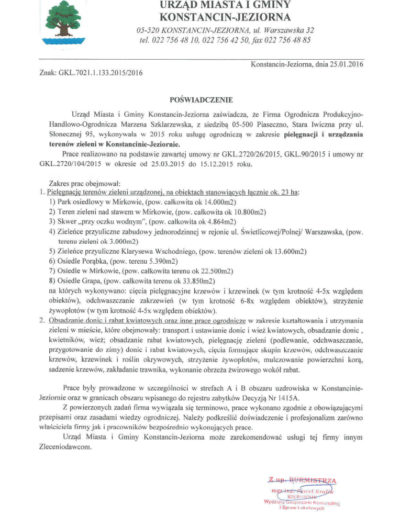 Urząd Miasta iGminy KONSTANCIN - JEZIORNA /2016/